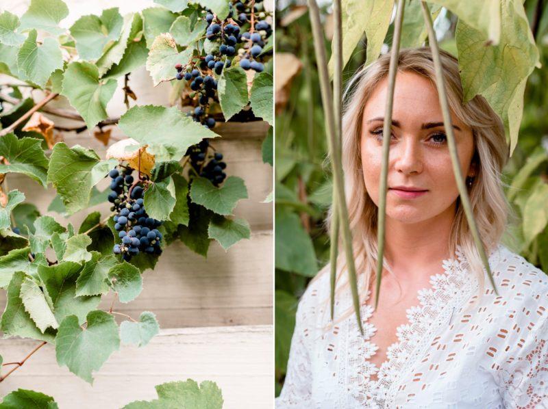 sesja zdjeciowa w winnicy jaworek - naturalna fotografia slubna - intrygujacy portret narzeczonej